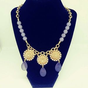 Plunder Posse February Necklace  Tan Flower Gold